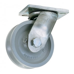 """V"" GROOVED WHEEL CASTERS, Rigid, Dia.: 4"", Width: 1-1/2"", Cap. (lbs.): 800, Type: Payron, Overall Height: 5-3/8"", Top Plate W x L: 3-3/4 x 4-5/8"", Bolt Hole: 2-5/8 x 3-5/8 slotted to 3 x 3"""