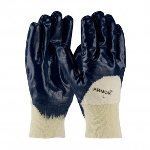 PIP® ArmorTuff® 56-3151/L Dipped Chemical Resistant Gloves, L, Nitrile, Blue/Natural, Cotton Jersey Lining, 10 in L, Resists: Abrasion, Cut, Grease, Oil, Puncture and Snag, Supported Support, Knit Wrist Cuff, 0.7 mm THK