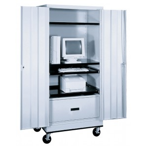 MOBILE COMPUTER CABINET, Light Gray