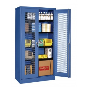 "HEAVY-DUTY VISUAL STORAGE CABINETS, Size W x D x H: 36 x 24 x 72"", Blue"