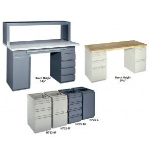 "MODULAR BENCHES, Cabinet base (2-drawer, 1-file), Size W x D x H: 14-1/4 x 22 x 27-1/2"", #49 Gray"