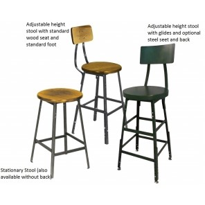 INDUSTRIAL SHOP STOOLS - w/BACKREST, Adjustable Height, Wood Seat Non Swivel, Foot Casters, Cap. (lbs.): 400, Seat Height: 18-24""