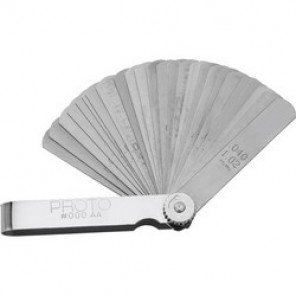 Proto® J000AA Metric Short Blade Feeler Gauge Set, 25 Pieces, 1/2 x 3 in Blade, Steel Holder, Satin