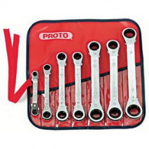 Proto® J1180MA Metric Offset Ratcheting Box Wrench Set, 7 Pieces, Forged Alloy Steel, Full Polished