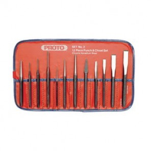 Proto® J2 Punch and Chisel Set, 12 Pieces, 3/16 - 1/2 in Chisel, 1/16 - 3/16 in Punch, Hardened Steel