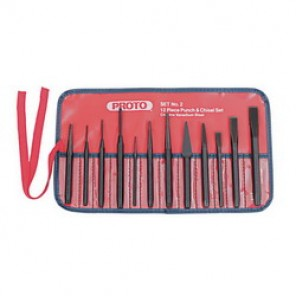Proto® J2S2 Punch and Chisel Set, 12 Pieces, 3/16 - 1/2 in Chisel, 1/16 - 3/8 in Punch, S2 Steel