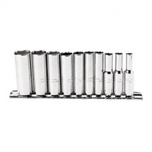 Proto® J47102 Fractional Socket Set, 10 Pieces, 1/4 in Drive, 6 Point, Full Polished