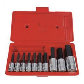 Proto® J4900A Fractional Standard Length Hex Bit Socket Set, 10 Pieces, Forged Alloy Steel