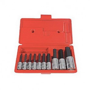 Proto® J4900A-TT SAE Standard Length Socket Bit Set, 10 Pieces, 3/8 in, 1/2 in Square Drive, Alloy Steel, Chrome Plated
