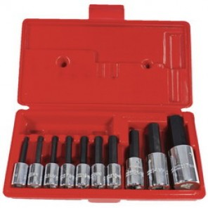 Proto® J4900MA Metric Socket Bit Set, 10 Pieces, 3/8 in Drive, 1/2 in, Square Drive, Alloy Steel, Full Polished Chrome