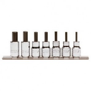 Proto® J4990-7ST Hex Bit Socket Set, 7 Pieces, 3/8 in Square Drive, Forged Alloy Steel, Nickel Chrome Plated