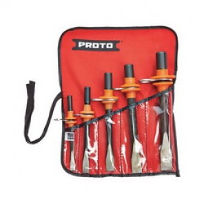 Proto® J86CS2-TT Tether-Ready Cold Chisel Set, 5 Pieces, 5/16 - 5/8 in Chisel, S2 Steel