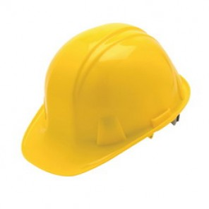 Pyramex® HP14130 Cap Style Hard Hat, 6-1/2 - 8 in, Yellow, 4-Point Nylon Ratchet Suspension, High Density Polyethylene