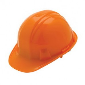 Pyramex® HP14140 Cap Style Hard Hat, 6-1/2 - 8 in, Orange, 4-Point Nylon Ratchet Suspension, High Density Polyethylene