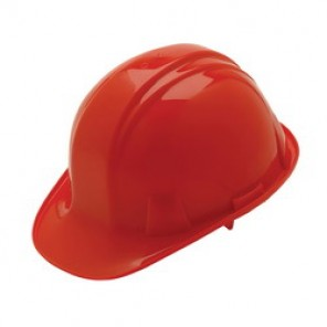 Pyramex® HP16020 Front Brim Hard Hat, 6-1/2 - 8 in, Red, 6-Point Nylon Snap Lock Suspension, High Density Polyethylene