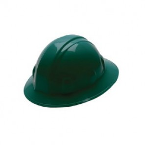 Pyramex® HP24135 Full Brim Hard Hat, 6-1/2 - 8 in, Green, 4-Point Ratchet Suspension, High Density Polyethylene