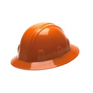 Pyramex® HP24140 Full Brim Hard Hat, 6-1/2 - 8 in, Orange, 4-Point Ratchet Suspension, High Density Polyethylene