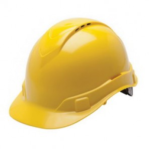 Pyramex® HP44130V Ridgeline Cap Style Hard Hat, 6-1/2 - 8 in, Yellow, 4-Point Ratchet Suspension, High Impact ABS