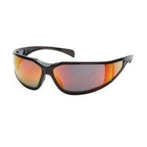 Pyramex® SB5155DT Protective Glasses, Universal, Black Frame, Anti-Fog Sky Red Mirror Lens