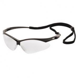 Pyramex® SB6320SP Optimal Style Protective Glasses, Universal, Half Framed Black Frame, Scratch-Resistant Gray Lens