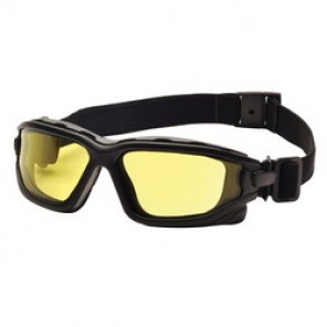 Pyramex® I-Force® Dual Pane Protective Goggles, Universal, Black Frame, Anti-Fog, Scratch-Resistant Amber Lens