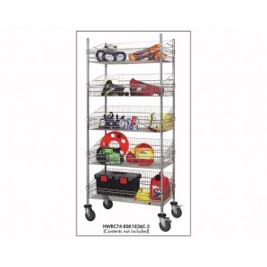 COMPLETE POST BASKET MOBILE UNITS, Size W x L x H: 18 x 24 x 80""