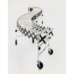"""MEDIUM-DUTY ACCORDION ROLLER CONVEYORS, Length Contracted/ Extended at Max.: 2'8"""" - 8'6"""", Leg Sets per Unit: 3, Bed Sections per Unit: 2, Width: 18"""""""