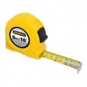 Stanley® 30-496 Tape Rule, 3/4 in W x 16 ft L Blade, Polymer Coated Steel, Imperial/Metric, 1/16ths, 1/32nds, 1 mm