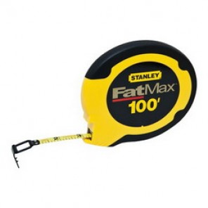 Stanley® FatMax® 34-130 Long Measuring Tape, 3/8 in W x 100 ft L Blade, Steel, SAE, 1/8ths