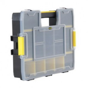 Stanley® STST14022 Compartment Box, 14-3/5 in W x 11-1/2 in D x 11-1/2 in D, 14 Compartments, Black/Yellow