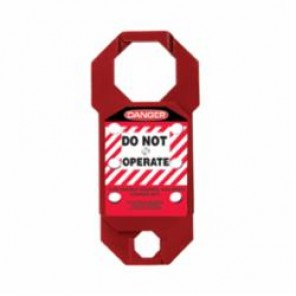 STOPOUT® KDH731 Double-Cross Lockout Hasp, 5/16 in Shackle, 6 Padlocks, 7 in L, Red, Anodized Aluminum
