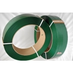 "Plastic Strapping - Green, 3/4"" x .050 x 2650' Coil, 16"" x 6"" Core, AAR Approved,Smooth"