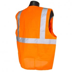 Radians® SV2ZOM Economy Type R Class 2 Mesh Safety Vest with Zipper, Hi-Viz Orange, Small