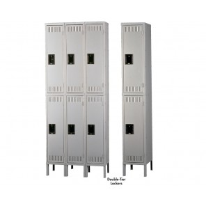 """TENNSCO DURABLE STEEL LOCKERS - DOUBLE-TIER, Outside Dim. of Opening W x D x H: 12 x 15 x 36"""", Overall Unit W x D x H: 12 x 15 x 78"""", Sand, 1-Wide Assembled Unit, No. of Openings: 2"""