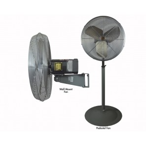 "OSCILLATING AIR CIRCULATOR, Fan Dia.: 24"", Fan Type: Pedestal, CFM High: 6800, CFM Low: 5000, AMPS High: 2.5"