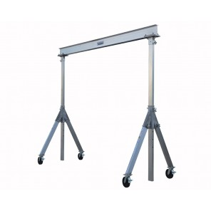 "ALUMINUM GANTRY CRANES, Cap. (lbs.): 2000, Beam Length Usable distance between uprights is overall beam length minus 18"".: 12', Height: 8"", Clear Under Beam: 9'6"" - 12'"