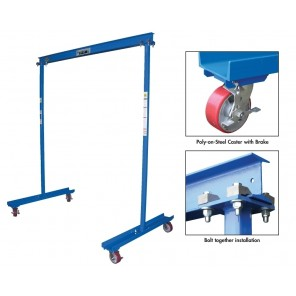 "WORK AREA PORTABLE GANTRY CRANES, Under I-Beam to Ground: 90"", I-Beam Flange W x L: 2.66 x 4"", Cap. (lbs.): 300"