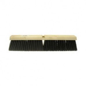 Weiler® 42014 Threaded Tip Push Broom, 24 in OAL, 3 in Trim, Fine, Black Horsehair/Polypropylene Bristle