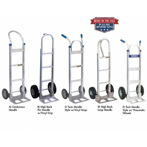 "COBRA-LITE ALUMINUM HAND TRUCKS, D) High Back Loop Handle, Cap. (lbs.): 500, Wheel 10 x 3.5"" Pneumatic, Size W x H: 18 x 52"""