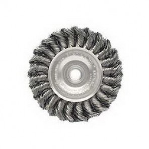 Dualife™ 08294 Wire Wheel Brush, 4 in Dia x 1/2 in W, 1/2 - 3/8 in, 0.014 in Knotted Standard Twist Wire