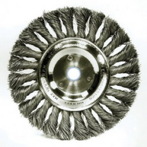 Dualife™ 08345 Wire Wheel Brush, 6 in Dia x 1/2 in W, 5/8 - 1/2 in, 0.016 in Knotted Standard Twist Wire