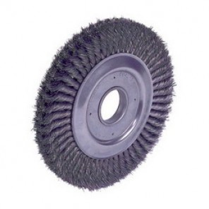Dualife™ 09460 2-Section Wire Wheel Brush, 10 in Dia x 1-1/4 in W, 2 in, 0.0118 in Knotted Standard Twist Wire