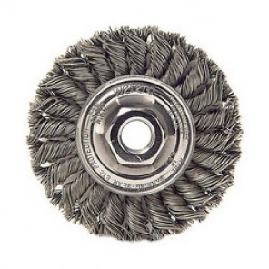 Weiler® 13120 Wire Wheel Brush With Nut, 4 in Dia x 1/2 in W, 5/8-11 UNC, 0.02 in Knotted Standard Twist Wire