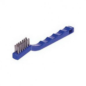 Weiler® 44075 Small Handle Scratch Brush, 1-3/8 in Brush, 7-1/2 in L x 1/2 in W Block, 1/2 in Stainless Steel Trim