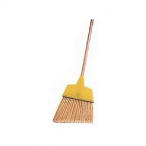 Weiler® 44305 Angle Broom, 54 in OAL, 7-1/2 - 6 in Trim, 12 in, Flagged Plastic Bristle, Tan Wood Handle