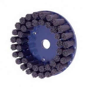 Nylox® 85854 Composite Back Disc Brush, 6 in Dia, 7/8 in, 0.04 in Silicon Carbide Straight Round Crimped Wire