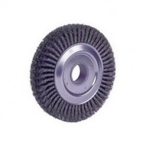 Dualife™ 94008 4-Section Wire Wheel Brush, 10 in Dia x 1-3/4 in W, 2 in, 0.023 in Knotted Cable Twist Wire