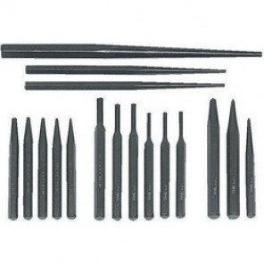 Williams® PS-17 Heavy Duty Punch and Chisel Set, Pin/Solid/Long Taper/Prick/Center, 17 3/32 to 1/4 in Punch, 17 Pieces